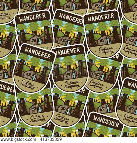 Camping Adventure Badges Pattern. Wanderer Hiking Seamless Background With Tent, Mountains, Cabin Li