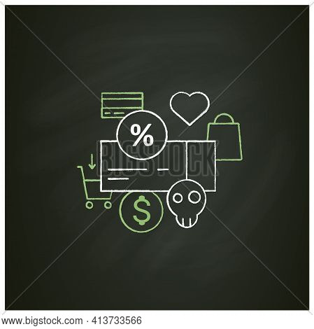 Dependence On Discounts Chalk Icon. Sales. Discounts Love. Mindful Spending Concept.isolated Vector