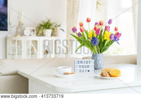 Good Morning Concept. Romantic Breakfast - Fresh Spring Flowers, Cup Of Hot Coffee Drink, Cookies, O