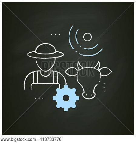Animal Breeder Chalk Icon.responsible For Producing Animals For Business.may Assist With Breeding Of