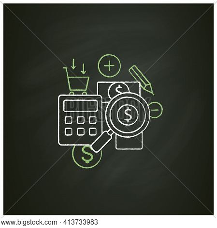 Track Spending Chalk Icon. Money Spent Calculations. Keep Accounts Track. Thoughtful Spending Money.