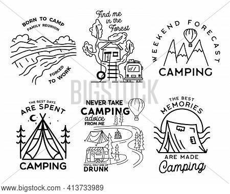 Vintage Line Art Logo Designs Set. Camping Adventure Badges With Camp Scenes. Camp Label, Hiking Ins