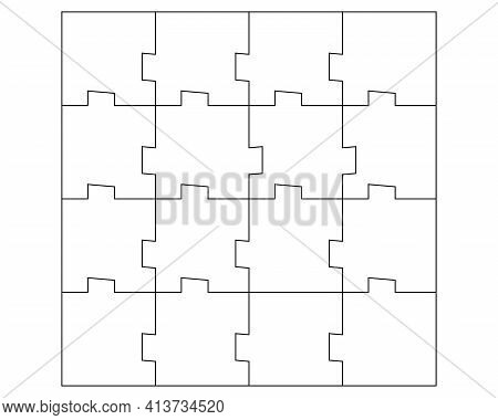 Unusual Abstract Blank Rectangle Jigsaw Puzzle With 16 Pieces. Simple Line Art Style For Printing An