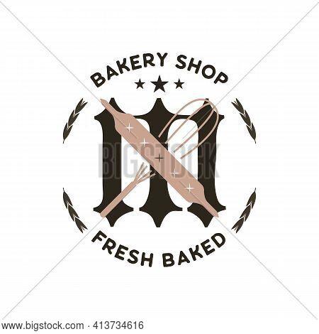Monogram Logo Designs. Classic Monogram - Bakery Shop Fresh Baked. Stylish Badge For Web And Print.
