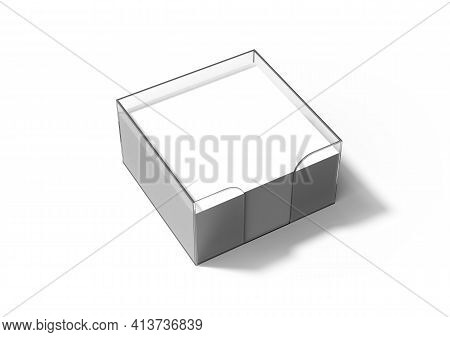 Transparent Plastic Memo Pad Holder With Blank White Memo Paper. Note Sheets In A Box On White Backg