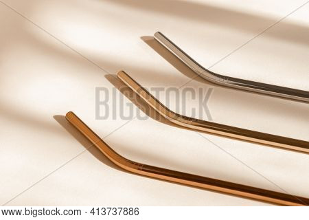 Eco Friendly Drinking Straws From Aluminium Or Stainless Steel, Reusable Zero Waste Metal Straw On N