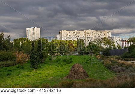 St-ouen, France, Oct 2020, View Of The Park In Les Docks A Old Industrial Territory Regenerated Into