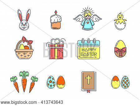 Line Color Easter Icons Set. Easter Symbols Collection. Vector Illustration