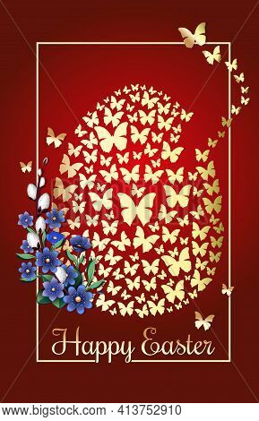 Happy Easter. Greeting Card With An Easter Egg Consisting Of Golden Butterflies On A Red Festive Bac