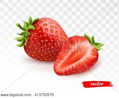Whole Strawberries And Half Of Strawberry On Transparent White Background. 3d Realistic Vector Illus