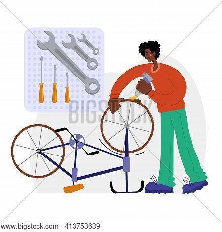 Bicycle Repair. A Black Man Repairs A Bicycle. The Mechanic Repairs The Bicycle, The Mechanic Inflat