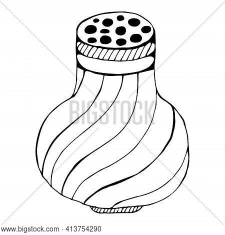 Salt Or Pepper Shaker, Doodle. Isolated Salt Shaker On A White Background. Simple Vector Illustratio