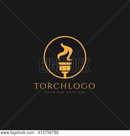 Torch Minimalist Logo Design Illustration Template. Simple Premium Sport,spa Logo Concept