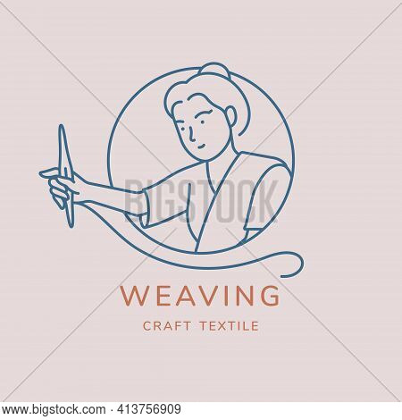 Weaving Vector Logo Design. Line Art Minimal Illustration. Woman Working On Hand Woven Textile With