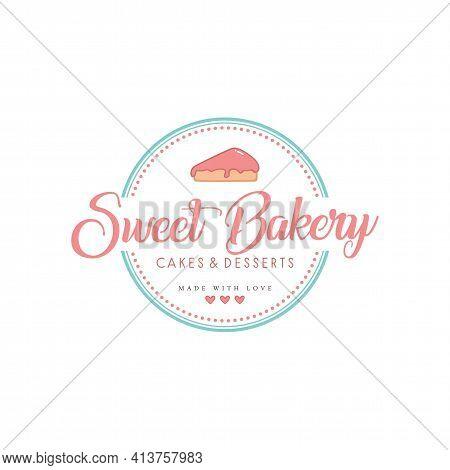 Sweet Bakery Shop Logo, Bakery And Dessert Logo, Sign, Template, Flat Design Vector