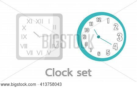A Set Of Modern Clocks On The Wall. The Clock Is Square With Roman Numerals And Arabic Numerals. Fla