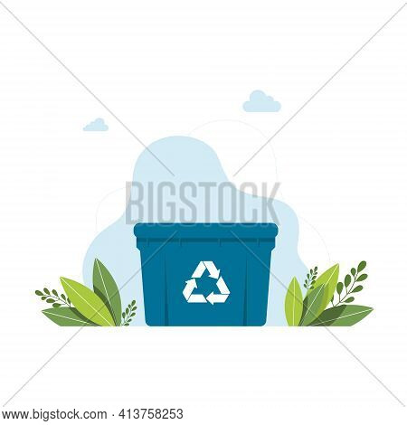 Blue Garbage Can With Sign Of A Garbage Recycling Trash Container Bin Icon. Garbage Recycle Basket B