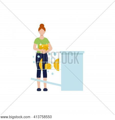The Woman Is A Housewife Washing Dishes In The Dishwasher. Female Vector Flat Character.