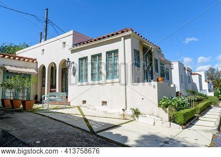 New Orleans, La - October 10: Mediterranean Style Houses In Palm Terrace Neighborhood On October 10,