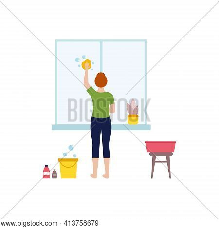 The Girl Washes The Window. A Woman Is Cleaning The Window. Potted Indoor Flowers. The Concept Of Ho