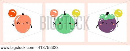 Kawaii Characters Of Lychee, Guava And Mangosteen. Cute Happy Fruits With Multicolored Balloons. Vec
