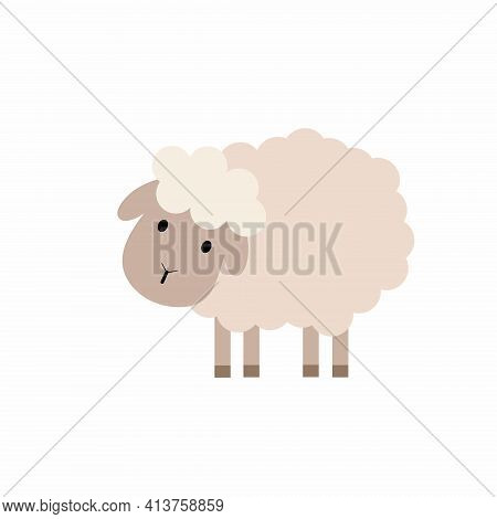 Cute Sheep In Cartoon Style. Children's Illustration Of A Sheep. Vector Pet.