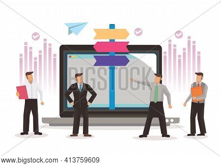 Businessmen With Direction Sign Post From The Laptop With Different Destinations. Concept Of Digital