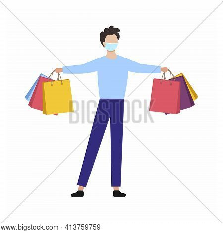 The Man In The Mask With The Shopping Bags. Vector Character In A Flat Style. Precautions For Covid1