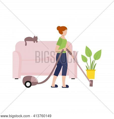 The Girl Cleans The Room With A Vacuum Cleaner. Housewife Does The Cleaning In The Room. Flat Female