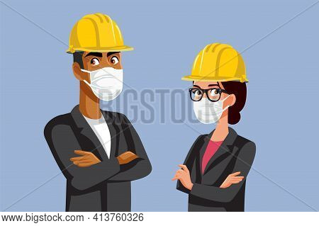 Contractors Wearing Hard Hats And Medical Masks