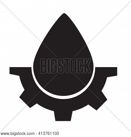 Drop And Gears Icon On White Background. Drop Water Gear Sign. Water Drop Logo. Flat Style. Gear Dro