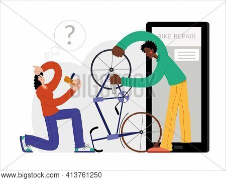 Bicycle Repair. Woman Repairing A Bike Through Online Repair. Web Graphics, Banners, Advertisements,