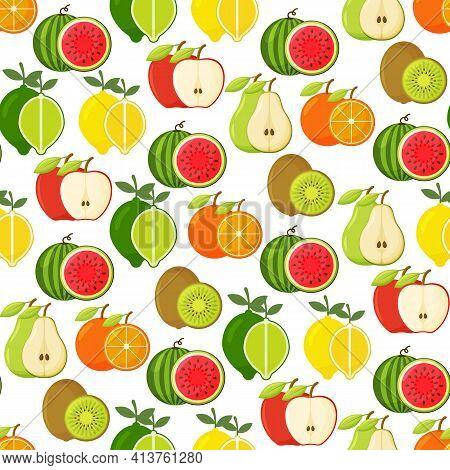 Seamless Pattern With Lemon Orange Lime Kiwi Apple Pear Watermelon. Vector Fruity Background.