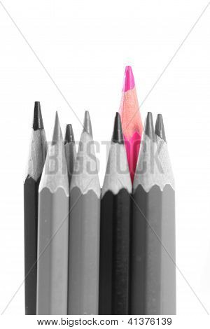 Pink color pencils beyond black and white