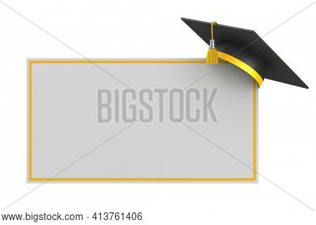 graduation cap and banner on white background. Isolated 3D illustration