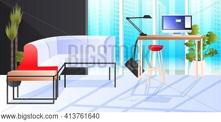 Modern Cabinet Interior Creative Coworking Center No People Open Space Office Room With Furniture