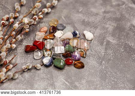 Multiple Semi Precious Gemstones. Gemstones Crystal Minerals For Relax, Meditation. Magic Rock For C