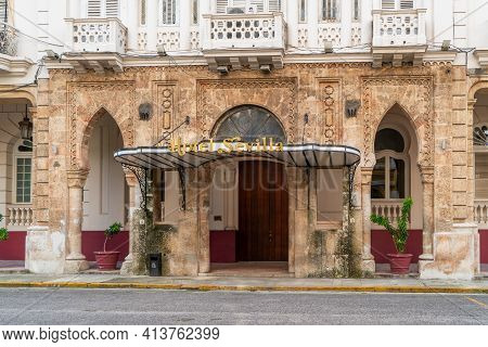 Havana Cuba. November 25, 2020: Exterior View Of The Facade Of The Hotel Sevilla, A Place Visited By