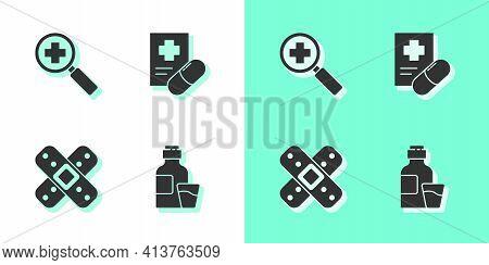 Set Bottle Of Medicine Syrup, Magnifying Glass For Search Medical, Crossed Bandage Plaster And Medic