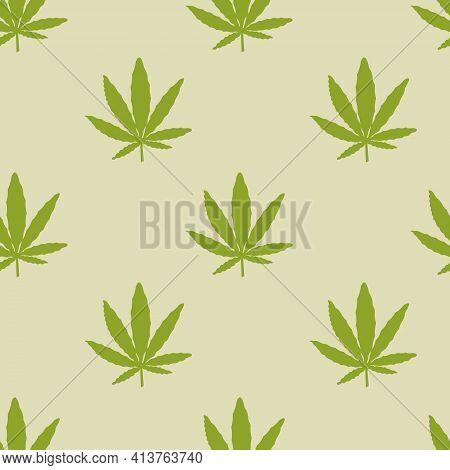 Hemp Or Green Cannabis Leaves Seamless Vector Pattern. Natural Remedy, Marijuana For Medical Design