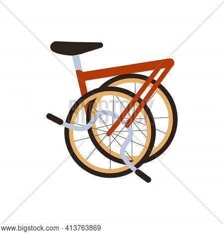 Vector Flat Red Modern Folded City Bike Isolated On White. Ecological Transport Side View. Commuting