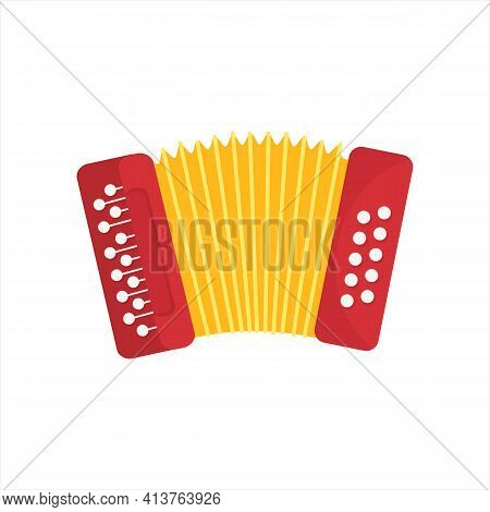 Chromatic Button Accordions Or Russian Bayan, Flat Folk Ethnic Musical Instrument Isolated On White.