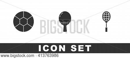Set Football Ball, Racket For Playing Table Tennis And Tennis Racket Icon. Vector