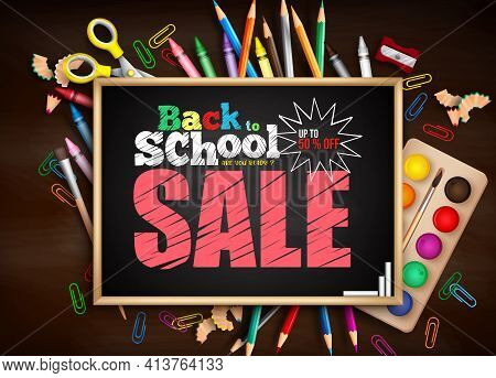 Back To School Sale Vector Banner Template. Back To School Sale Up To 50% Off Text With Blackboard A