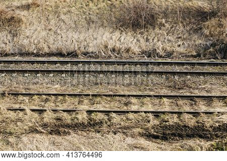 Simple Railway Background. Two Train Track Texture. Older And Newer Tracks Next To Each Other. Out O