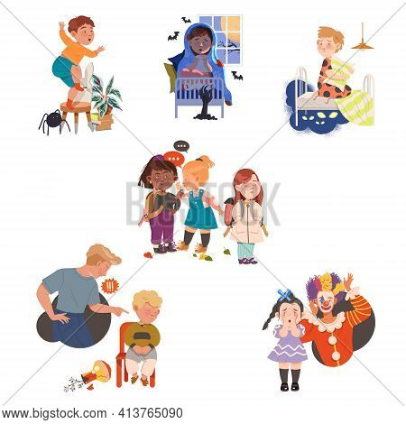 Children Having Fears Afraid Of Spider And Monsters Vector Set