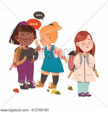 Crying Freckled Girl Standing With Backpack Afraid Of Bullying And Gossiping Behind The Back Vector