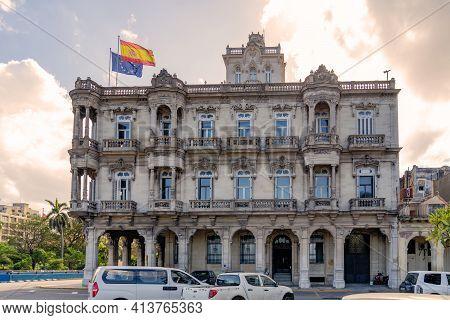 Havana Cuba. November 25, 2020: Embassy Of Spain In Cuba. Formerly Palace Of Velazco-sarra