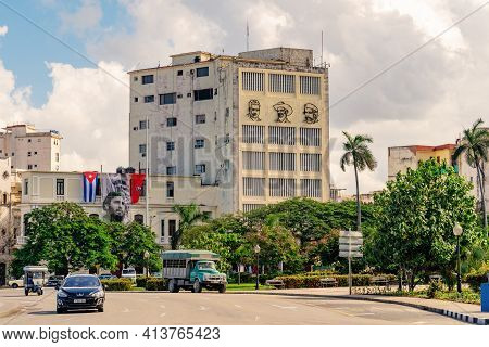 Havana Cuba. November 25, 2020: Building Of The Union Of Young Communists Of Cuba, On Its Facade The