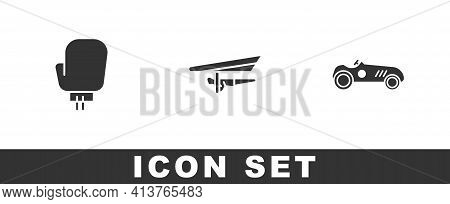 Set Boxing Glove, Hang Glider And Vintage Sport Racing Car Icon. Vector